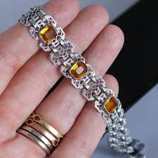 vintage jewelry bracelet images Antique 1920s art deco rhodium filigree citrine stone bracelet jpg