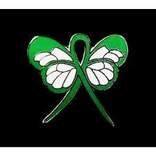mental health lapel pin green awareness ribbon butterfly gold