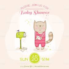 baby cat with mail baby shower card stock vector art