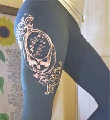 grateful dead leggings steal your face dead hand bleached
