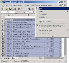 ms excel 2003 sort data in alphabetical order based on 1 column