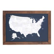 United States Map Art by Push Pin United States Map Walnut Frame Navy 100 Pins