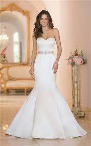 fit and flare wedding dress and flare strapless satin wedding dress with crystals sash buttons