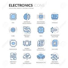 color of intelligence simple set of electronics related color vector line icons contains