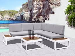canap d angle bois salon de jardin d angle gris et plateaux en bois padang