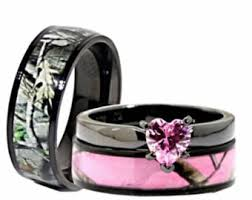 camo wedding ring sets for him and camo heart etsy