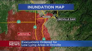 Oroville Ca Map Oroville Dam Emergency Spillway Eroding Evacuations Ordered Cbs
