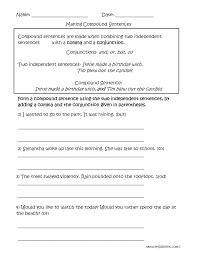 making compound sentences worksheets englishlinx com board