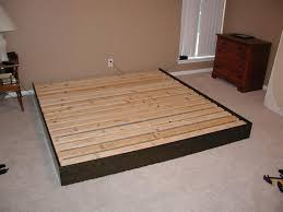Bed Frame No Headboard Varnished King Size Maple Bed Frame With Grating Headboard And