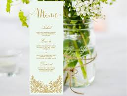 wedding menu editable ms word template diy lace mint and gold