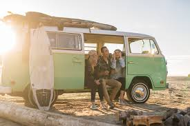 Oregon travel by bus images Friends hanging out on the oregon coast with a vw bus jpg