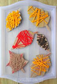 yarn wrap autumn leaves art activities motor skills and yarns