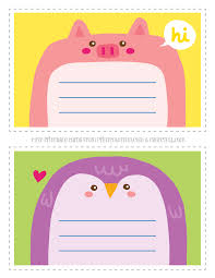 adorable animal notecards for kids pig u0026 penguin coloring page