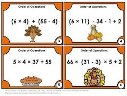 free thanksgiving math task cards 5th 6th grade order of