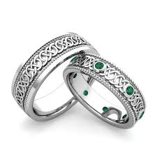 wedding rings his hers his hers celtic wedding band in 18k gold milgrain emerald ring