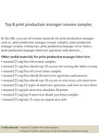 facility manager resume sample top8printproductionmanagerresumesamples 150515024423 lva1 app6892 thumbnail 4 jpg cb 1431657908