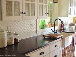 tiles beautiful white kitchen cabinet with tile wall accent and