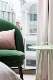 fitzroy place green velvet chair with hay for cos pink blush