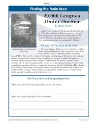 middle main idea worksheet about 20 000 leagues under the sea