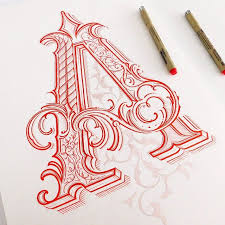ornamental letter a in process by mateusz witczak instagram