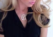 Monogrammed Necklace Sterling Silver Jane Basch Designs Lace Monogram Necklace Sterling Silver Flag