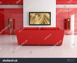 red leather sofa modern living room stock illustration 27485950