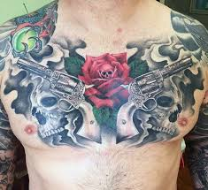 50 gun tattoos for explosive bullet design ideas