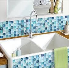 amazon com beaustile mosaic 3d wall sticker home decor n blue