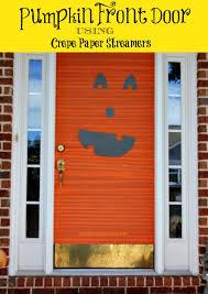 Door Decorations For Halloween Halloween Decorations Pumpkin Front Door With Crepe Paper Halloween