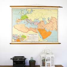 Islam World Map by Vintage Pull Down Map Expansion Of Islam Bonnie U0026bell