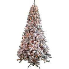 time pre lit 7 5 flocked artificial tree clear