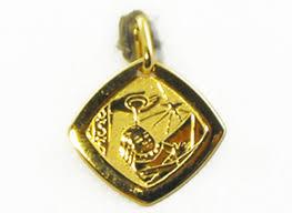 Baptism Engraving 18ct Yellow Gold Italian Square Medallion Baptism Engraving 15mm