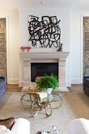 Abstract Art Beige With Black And White Artwork Family Room - Black and white family room