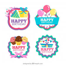 birthday stickers pack of four retro birthday stickers vector free