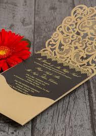 Asian Wedding Invitation Gold Diamante Laser Cut Pocketfold Personalised Wedding Invitation
