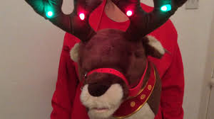 rudolf the reindeer signing 3d christmas jumper with flashing