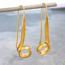 gold drop earrings curl spiral gold drop earrings by otis jaxon silver jewellery