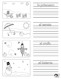 printable worksheet on the seasons in spanish with pictures to