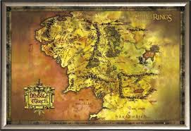 Map Middle Earth Lord Of The Rings Map Of Middle Earth Art Poster Print Amazon