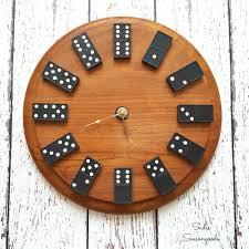 diy vintage domino wall clock with repurposed vintage wooden