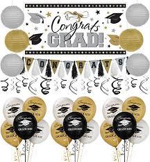 graduation decoration black gold silver graduation paper fans 6ct party city