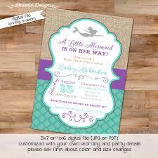 mermaid baby shower invitations mermaid baby shower invitation purple teal mermaid invitation