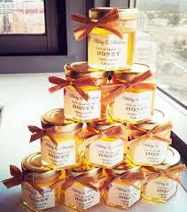 stacked diy honey wedding favors create a pretty display at a