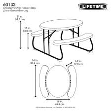 Lifetime Folding Picnic Table Instructions by Childrens Oval Picnic Table Lime Green