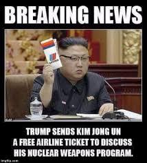 Kim Jong Meme - trump sends kim jong un a free united airlines ticket imgflip