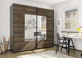 Schlafzimmer Spiegel Schwebetürenschrank Kleiderschrank Mit Spiegel Eiche Dunkel 219cm