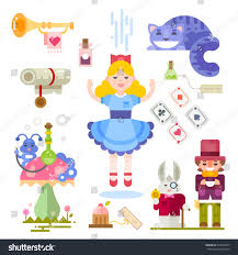 alice in wonderland template alice wonderland fairy tale characters illustration stock vector