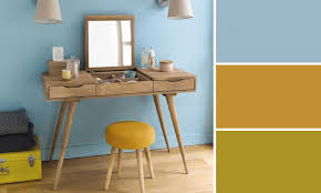 le de bureau bleu bureau jaune bureau scandinave 3 tiroirs hopfab petit bureau