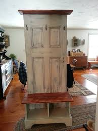 door hall tree made from an antique door and a custom bench and