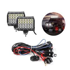 72w cree off road led work light bars with wiring harness kit le